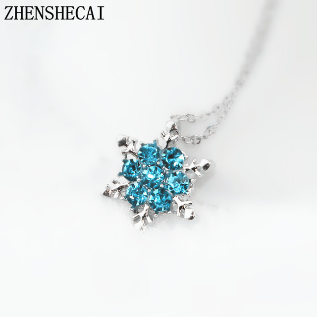 Fashion Jewelry Blue Crystal Rhinestone necklaces   pendants Beautiful  Snowflake Flower Necklace For Women Statement Jewelry x24 c39af5a2d304