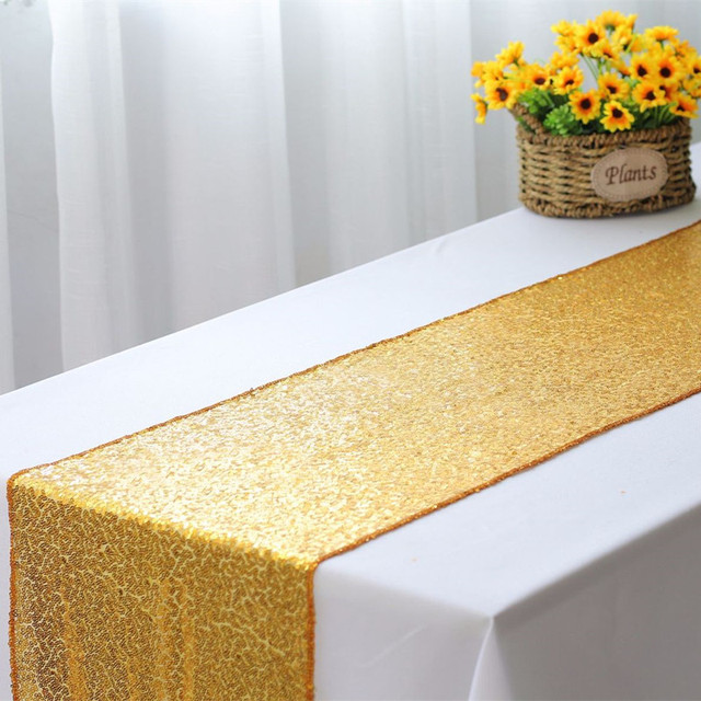 10pcs Luxury Gold Silver Bling Sequin Table Runners Sparkly Wedding Glitter For Hotel