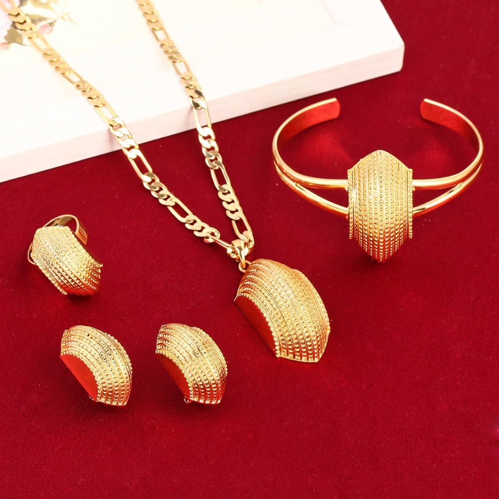New Ethiopian African Cross Jewelry Sets 24K Gold Color Fashion Traditional Jewelry Set