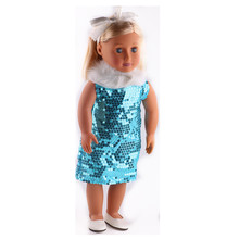 Stylish Princess Dress + shoes fit in 18 inch American doll dress at the party b838+n33 qyflyxue the popular european and american birthday party dress the beautiful princess ballet dress the children s dress