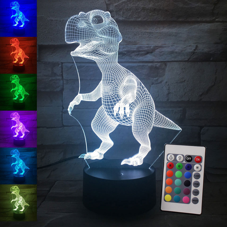LED Tyrannosaurus Rex 3D Night light 16 colors USB Button Acrylic optic lights decor Nights lamps kids gifts for baby child