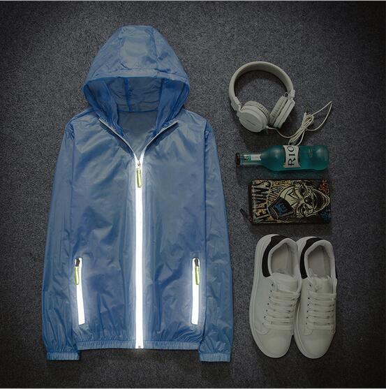 Men casual fashion 3M reflective UV ultra-thin breathable waterproof sunscreen clothing coat reflective jacket