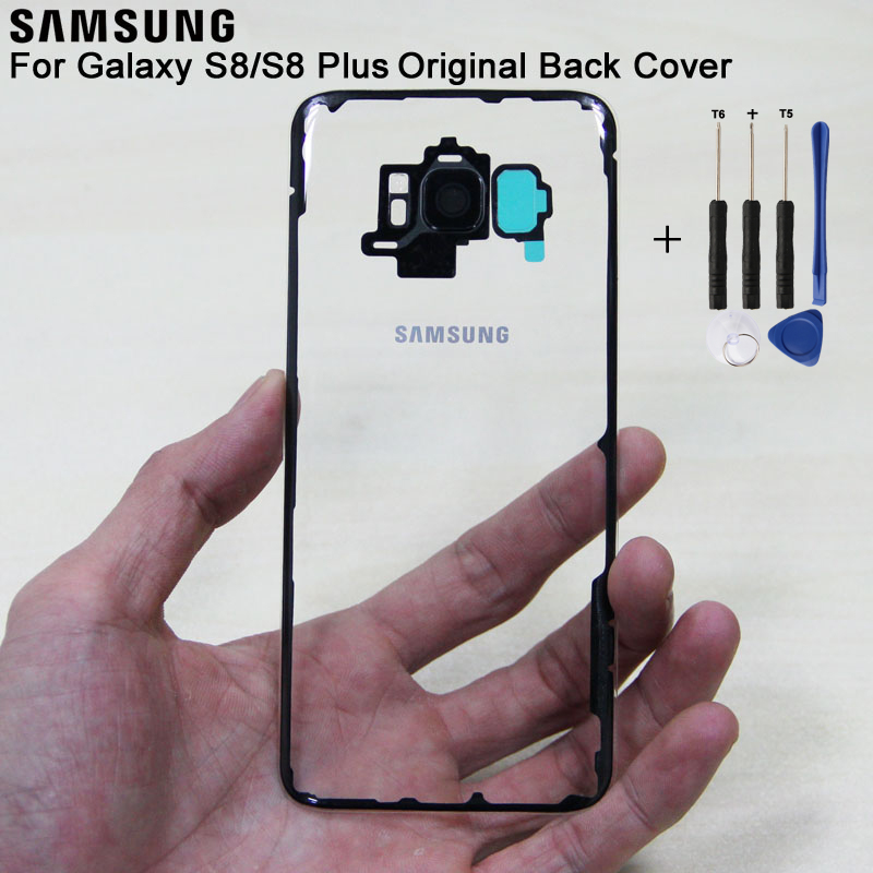 Samsung Original Glass Rear Battery Door Transparent Version For Samsung S8 S8 Plus S8 S8plus SM G955 G9500 Housing Back Cover in Half wrapped Cases from Cellphones Telecommunications