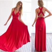 Multiway Wear Women Maxi Dress Sexy Bandage Off Shoulder Long Dress Bridesmaids Convertible Dress FS0210