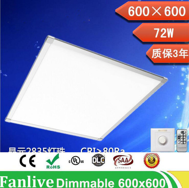 6pcs/lot 20W 300*300mm 36w 48w 72w 600*600 Dimmable Led Panel Light 110v 220v Focos Led Techo SMD2835 With Dimmer And Controller