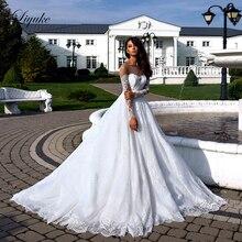 Liyuke Elegant Lace Backless Design Strapless A-Line Wedding Dress With  Beading Sash Off The Shoulder Gown