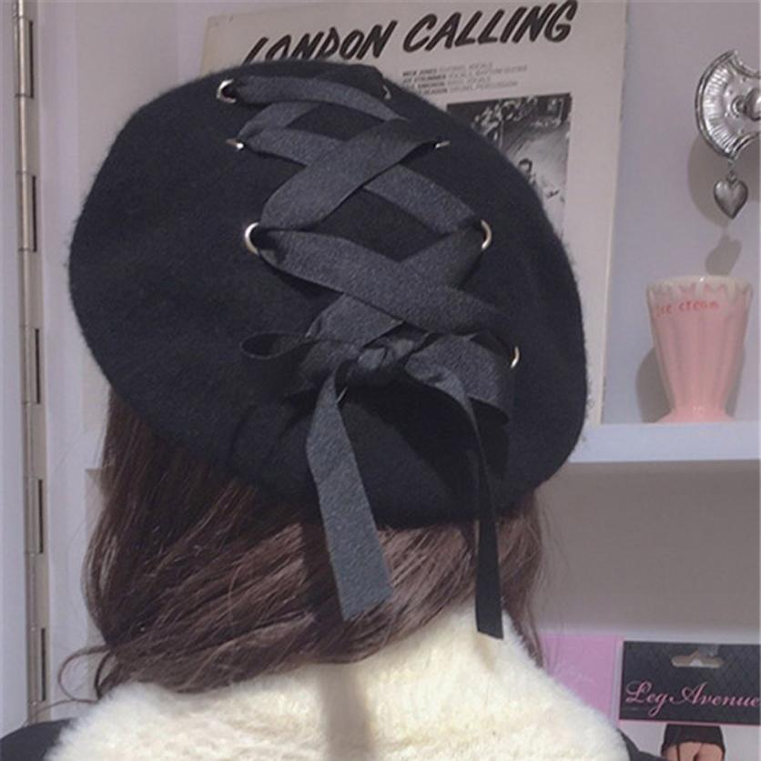 winter women hats bow tie girl caps Woolen fabric Felt Straps Bandage Beret Beanie female sombrero Fashion Warm solid chapeau