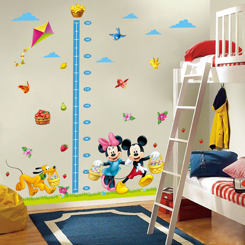 cartoon mickey minnie mouse dog height measure growth chart wall sticker for kids room nursery home decor decal poster art