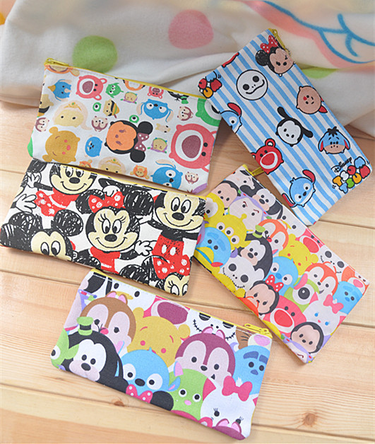 Cosmetics Bags Pouch Stationery Pencil-Case Storage-Pen Canvas Zipper Anime Mickey-Minnie