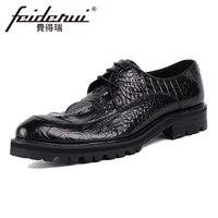Genuine Leather Handmade Men S Footwear Alligator Round Toe Derby Man Office Flat Platform Formal Dress