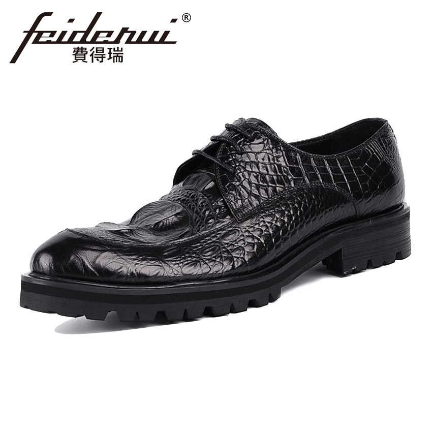 Genuine Leather Handmade Mens Footwear Alligator Round Toe Derby Man Office Flat Platform Formal Dress Business Shoes YMX84Genuine Leather Handmade Mens Footwear Alligator Round Toe Derby Man Office Flat Platform Formal Dress Business Shoes YMX84