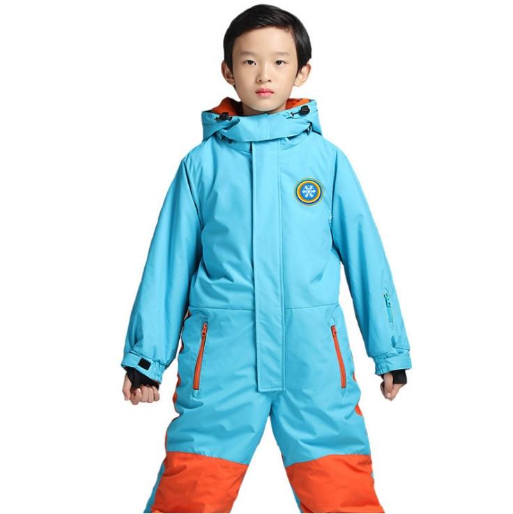 2017 Winter Kids outdoor skiing Snow suits jumpsuit children waterproof ski jackets pants for 6 8 10y school girl boy clothes