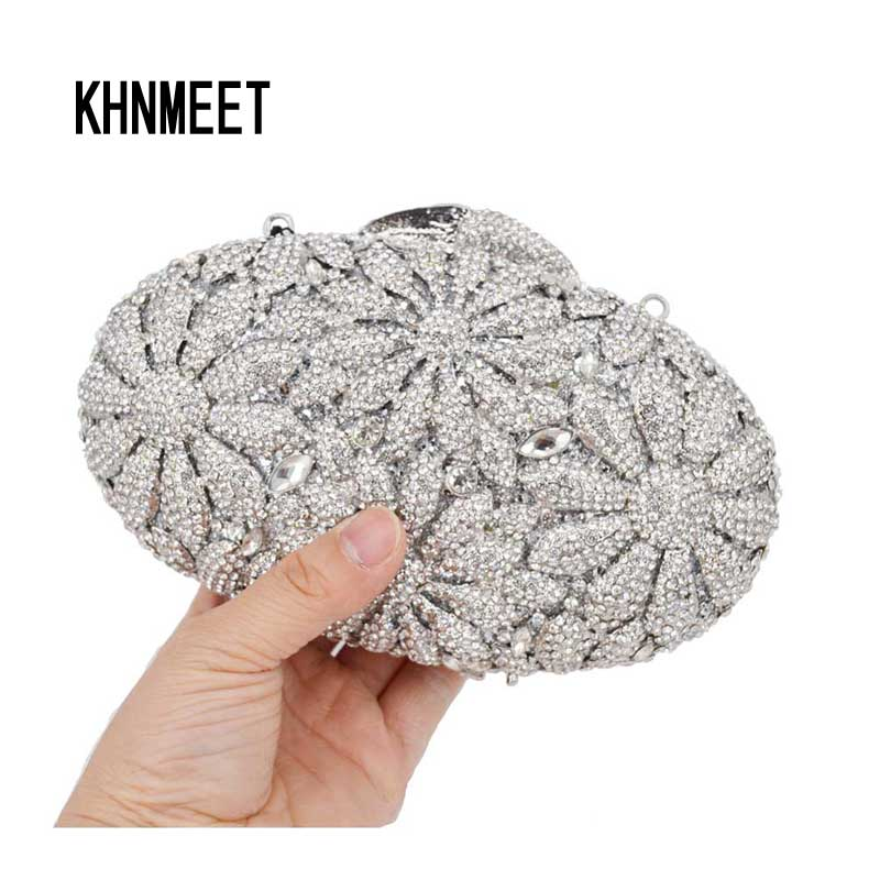 LaiSC Blue Daisy floral luxury crystal evening bag ladies handbag rhinestone Clutch bag bride wedding party holiday purse  SC029 women luxury rhinestone clutch evening handbag ladies crystal wedding purses dinner party bag bird flower purse zh a0296