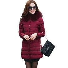 Новые зимние куртки женщины 2017 мода стройная длинный хлопок-проложенный С Капюшоном куртка куртка женская ватные куртки верхняя одежда зимнее пальто 3L52