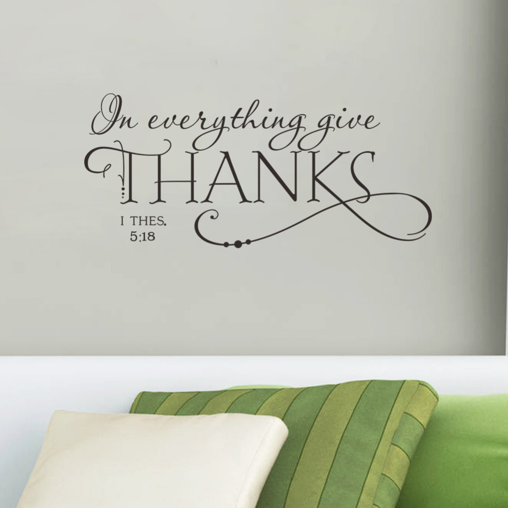 Quotes Wall Sticker In Everything Give THANKS Christian Jesus Vinyl Art Home Decal Room Decor Removable DIY