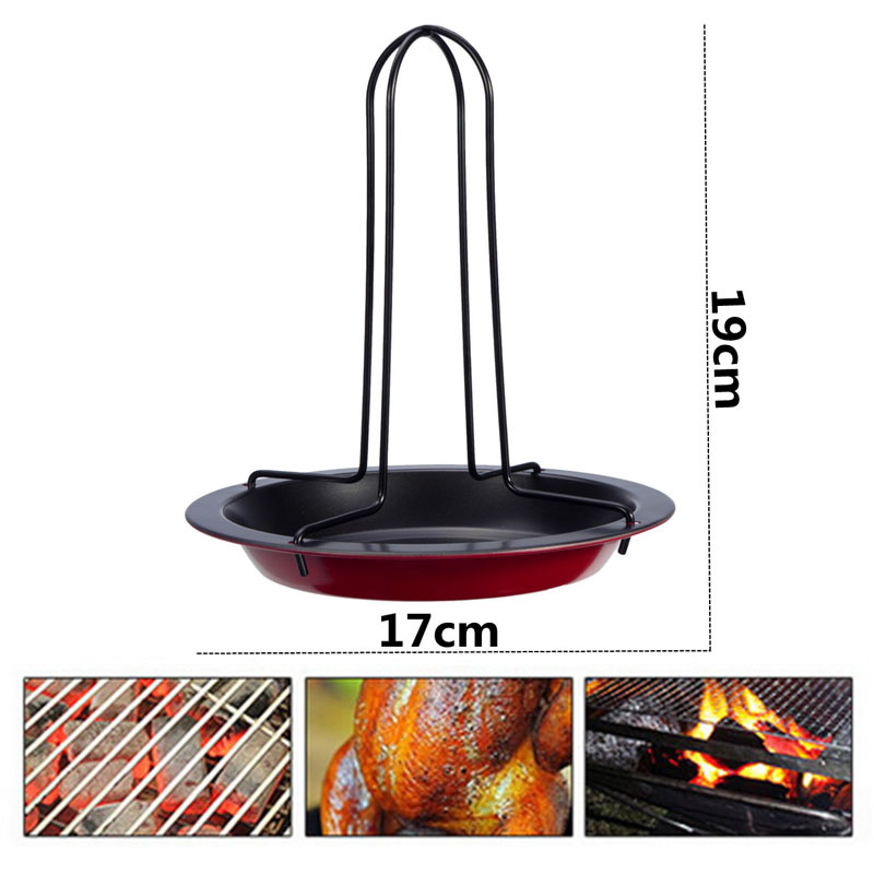 Carbon Steel Upright Vertical Chicken Rack with Bowl Non Stick ...