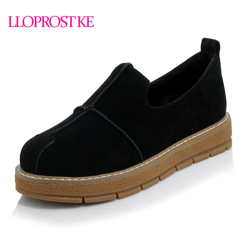 LLOPROST KE Fashion woman shoes 2017 Shallow Casual flat Platform Slip-on Loafers Leisure women shoes Plus size 30-45 dxj1938
