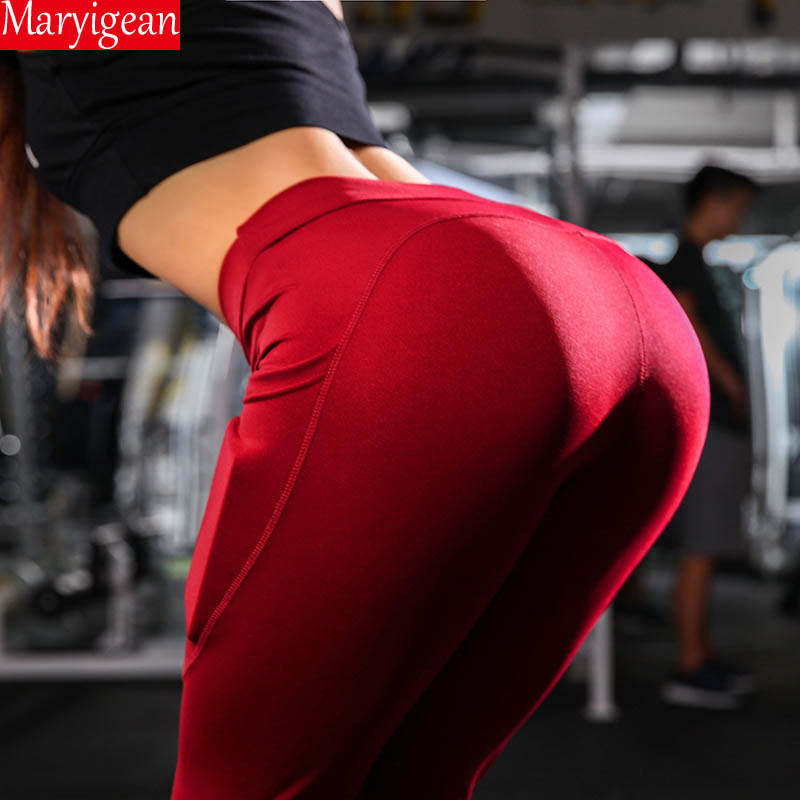 Maryigean Pocket High Waist Leggings Women Fitness Workout Activewear Solid Trousers Fashion Sexy Push Up Seamless Leggings