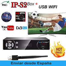 SATXTREM IPS2 Satellite TV Receiver HD Receptor + Europe cline for 1 year spain support IPTV Decoder TV BOX + USB WIFI