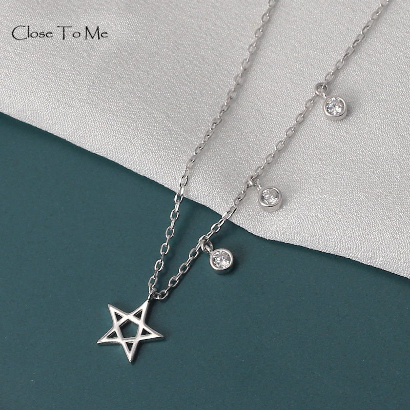 Close To Me Real S925 Silver Zircon Pendant Necklace Pentagram Pendant for Women Simple Fine Jewelry Women'Gift-in Pendants from Jewelry & Accessories on AliExpress - 11.11_Double 11_Singles' Day 1