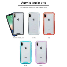 Silicone 2in1Transparent Shockproof Cover Clear PC Back Phone Case For iPhone 7 8 6 6S Plus X XR XS Max