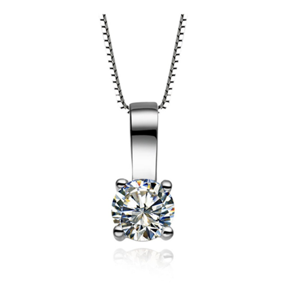 18K GOLD FILLED 2CT SOLITARIE SIMULATED DIAMOND  WEDDING SOLID NECKLACE PENDANT