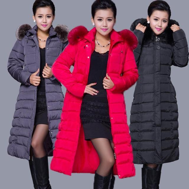 Mulheres Moda inverno Longo Grosso Quente Para Baixo Mulheres Jaqueta de Algodão plus Size de Alta Qualidade Gola De Pele Fino Casaco Sobretudo As Mulheres Parka