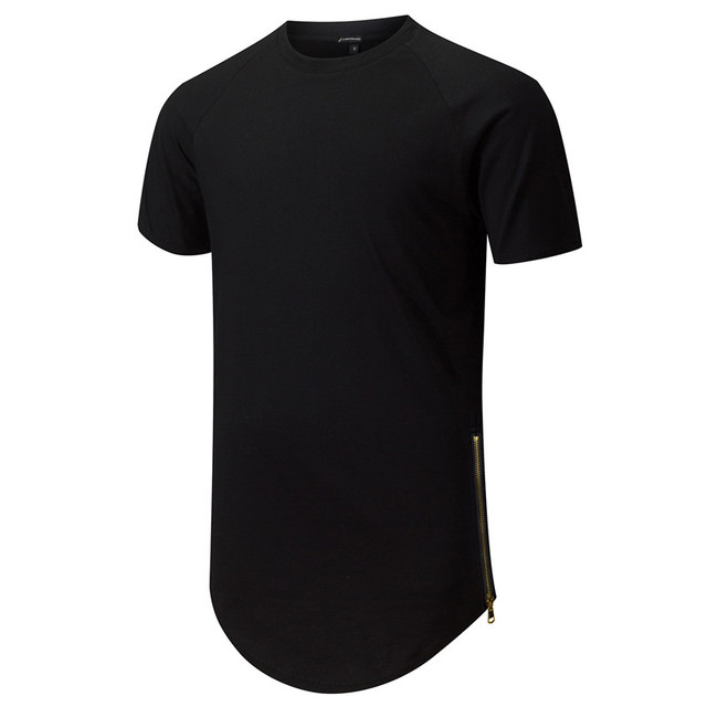 da935eda0d9 Mens Hipster Hip Hop Side Zip Longline T-Shirts Extended Tees Urban  Clothing Fashion Streetwear Raglan Sleeve Curved hem
