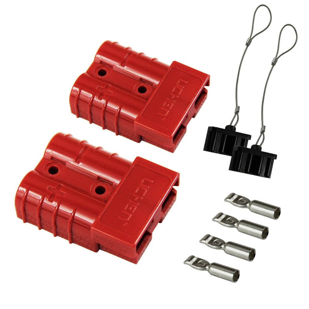 Red 6-10 Gauge Battery Quick Connect/Disconnect Wire Harness Plug Connector Recovery Winch Trailer | 12-36V DC, 50A image