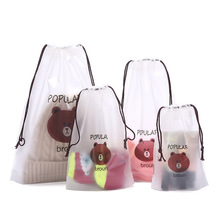 Travel Accessories Drawstring Transparent Packing Organizers Cute Brown Bear Cosmetic Bag Bath Storage Pouch toiletry Bag