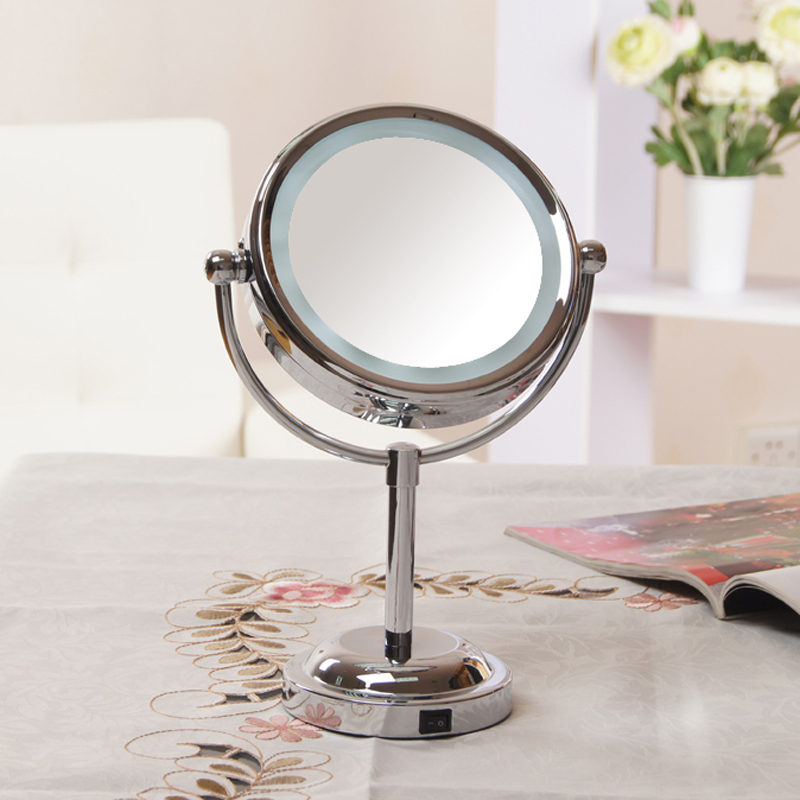 girls 39 beauty makeup mirror with light cosmetic side magnifying stand. Black Bedroom Furniture Sets. Home Design Ideas