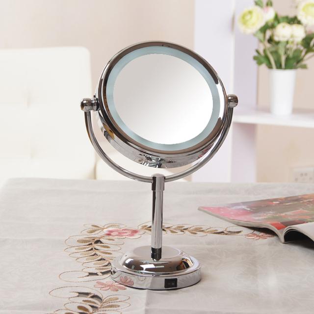 Niñas Belleza Cosmética maquillaje Espejo con luz lámpara de escritorio Lupa Soporte Grande cara moda vestirse espejos Laterales