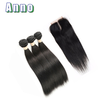 2016 New Pure Color All Colors Hot 8a Malaysian Straight Hair With Closure 3 Bundles Jet Black Human With Stema Company