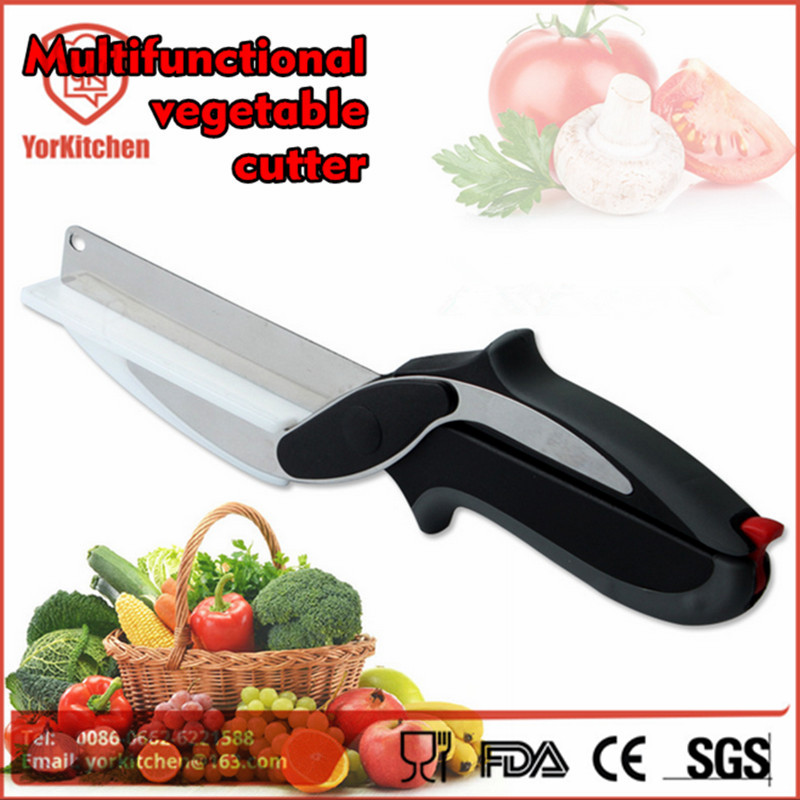 High Quality Free Shipping Unique Vegetable Smart Food Chopper 2 In 1 Cutter With Cutting Board