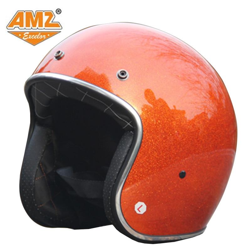 АМЗ открытым лицом мотоциклетный шлем DOT утвержден Халли модные Ретро популярные Jet шлем
