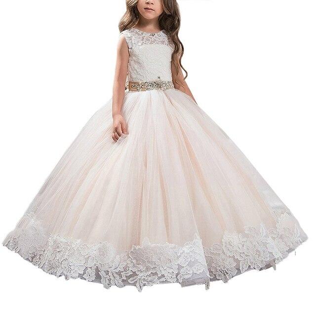 a6d1825886d abaowedding champagne flower girls dresses tulle kids ball gowns long  vestidos de menina first communion dresses for girls 2019