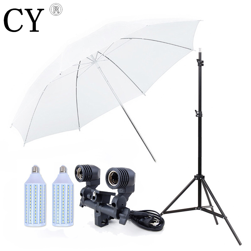 Studio Light Stand Umbrella Bracket Set Stand Translucent White Umbrella+EU Plug Twin Umbrella Holder Bracket 220V+20W LED Blub