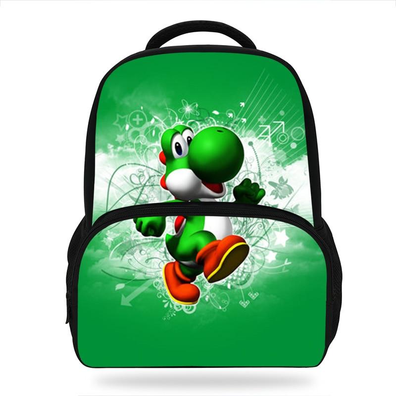 14Inch Yoshi Super Mario School Backpack Set For Children Cartoon Printed Bag For Kids Boys Girls