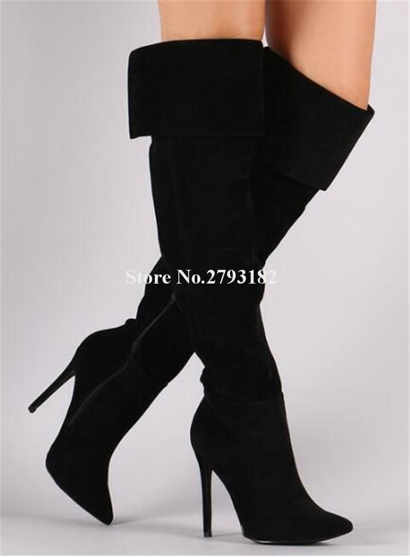 Women New Fashion Pointed Toe Suede Leather Thin Heel Over Knee Boots Folded Black Grey High Heel Long Boots Winter BootsWomen New Fashion Pointed Toe Suede Leather Thin Heel Over Knee Boots Folded Black Grey High Heel Long Boots Winter Boots