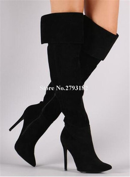 Women New Fashion Pointed Toe Suede Leather Thin Heel Over Knee Boots Folded Black Grey High Heel Long Boots Winter Boots