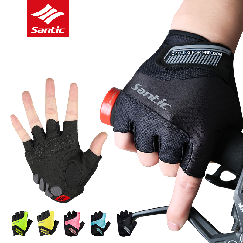 Santic Cycling Gloves Men Women Half Finger Pro Gel Padded Bike Gloves Anti-slip Road Racing Bicycle Gloves Luvas Ciclismo mtwe9018 anti slip half finger bicycle riding cycling gloves blue grey black xl size pair