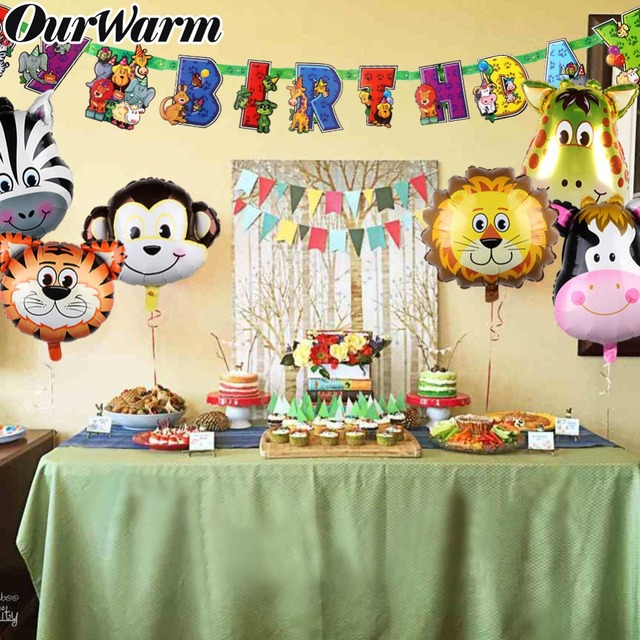 OurWarm Jungle Party Decoration Kids Birthdays Animals Balloons Banner Candy Boxes Cookies Bags Animal Kraft Paper Gift Bag