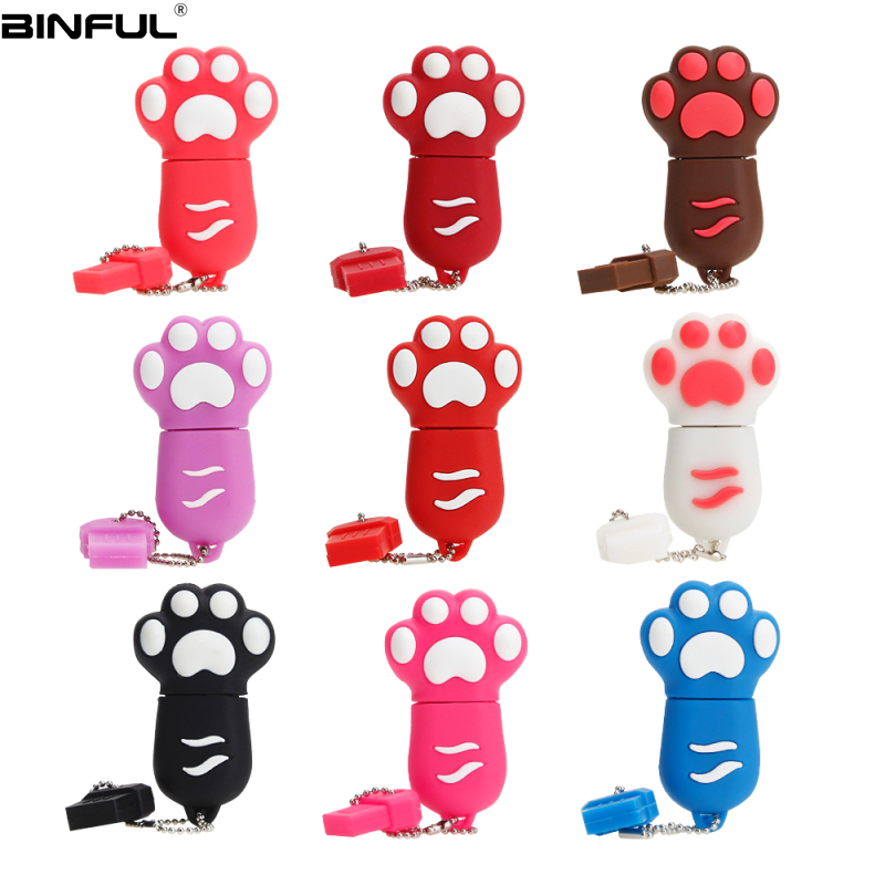 Usb Flash Drive 64GB Cute Cartoon Cat Paw Pen Drive 4G 8GB 16GB 32GB 64GB Usb Stick High Speed Pendrive High Quality Thumbdrives