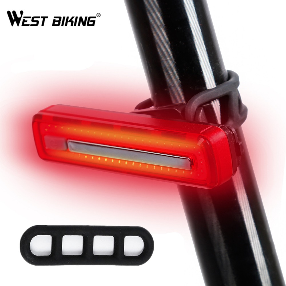 WEST BIKING Bike USB Rechargeable Taillight Waterproof 360 Rotate Bicycle Warning Lights Powerful LED Cycling Safety Rear Light west biking taillight rechargeable 7 models smart usb waterproof ce rhos fcc msds certification cycling bike bicycle tail light