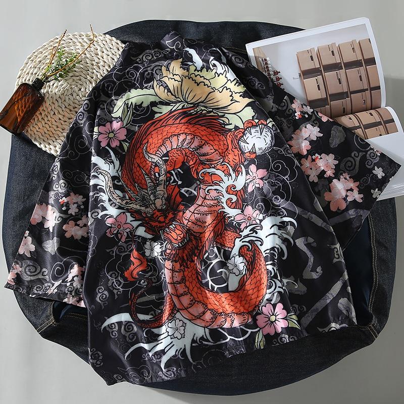 Japanese Haori Style Summer Thin Cardigan Harajuku Kimono Traditional Clothing Asian Clothes Yukata Men Jacket Dragon Kiimono