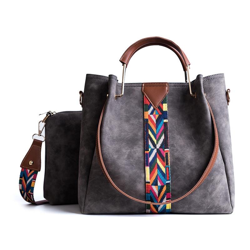 Famous Brand Casual Tote Shoulder Crossbody Bags Handbags Female PU Leather Composite Bag Colorful Strap Women Bag Set 3 Color