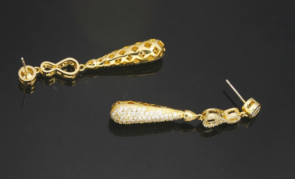 Gold Color Infinity Drop Earrings With CZ Crystals