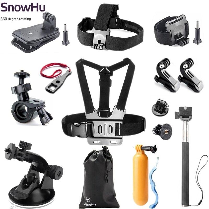 SnowHu para los accesorios de Gopro simplificado edición conjunto para ir pro hero 7 6 5 4 3 SJCAM SJ4000 xiaomiyi eken h9 Cámara de Acción GS01