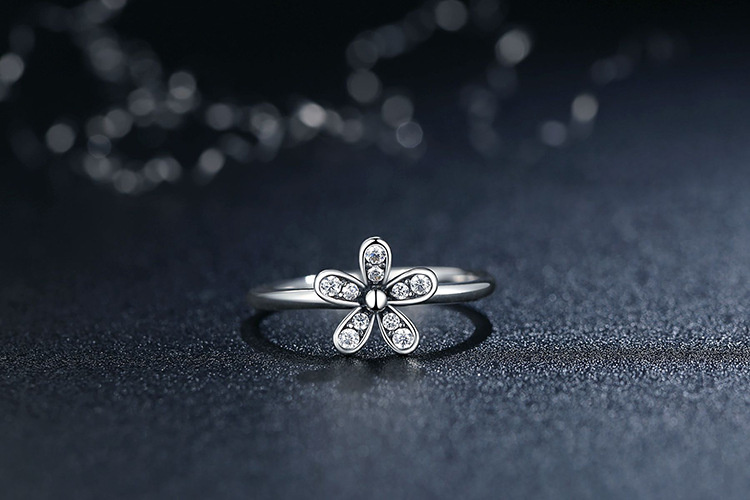 sale autumn Retro fashion Flowers charm CZ Ring DIY Compatible with Pan jewelry rings for women and men