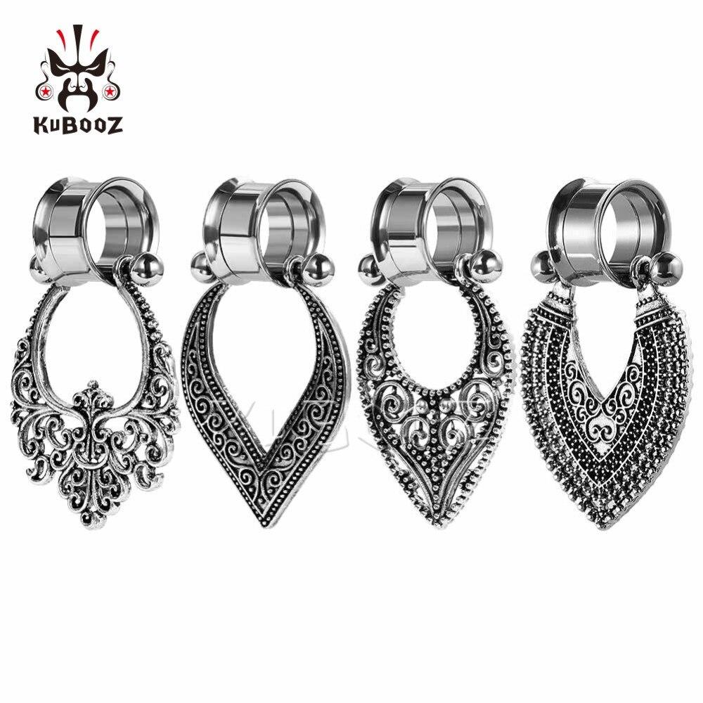 KUBOOZ Screw Ear Gauges Stainless Steel Dangle Expanders Plugs Tunnels Studs Earrings Piercing Body Jewelry Fashion Gift